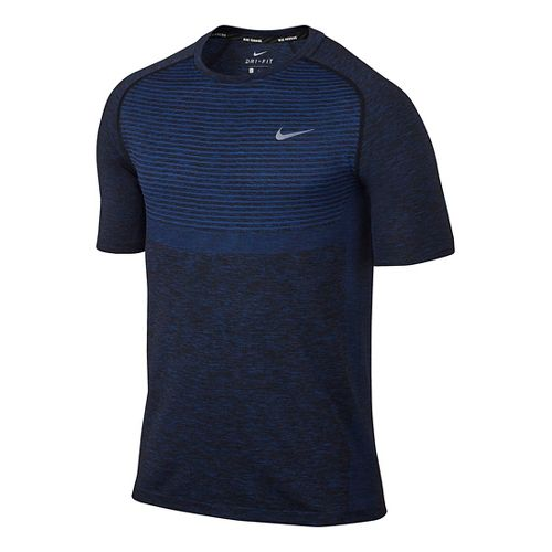 Mens Nike Dri-Fit Knit Short Sleeve Technical Tops - Deep Royal Blue/Black XL