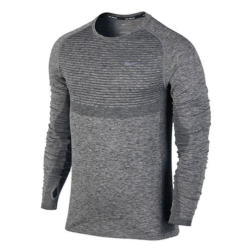Mens Nike Dri-Fit Knit Long Sleeve Technical Tops - Black/Heather S