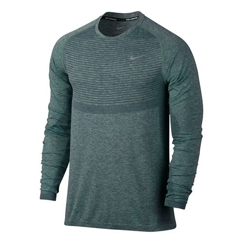 Mens Nike Dri-Fit Knit Long Sleeve Technical Tops - Hasta/Green Glow L
