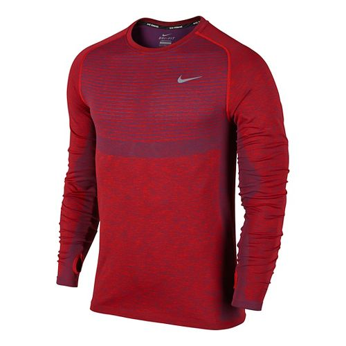 Mens Nike Dri-Fit Knit Long Sleeve Technical Tops - Varsity Red L
