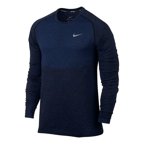 Mens Nike Dri-Fit Knit Long Sleeve Technical Tops - Deep Royal Blue/Black L
