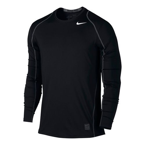 Mens Nike Hypercool Fitted Long Sleeve Technical Tops - Black M