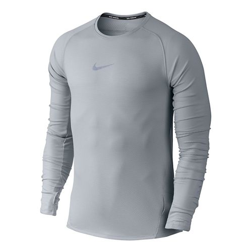 Mens Nike Aeroreact Long Sleeve Technical Tops - Wolf Grey L
