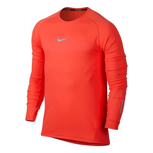 Mens Nike Aeroreact Long Sleeve Technical Tops - Bright Crimson M