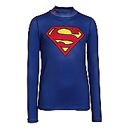 Kids Under Armour Alter Ego Superman ColdGear Fitted Mock Long Sleeve No Zip Technical Tops