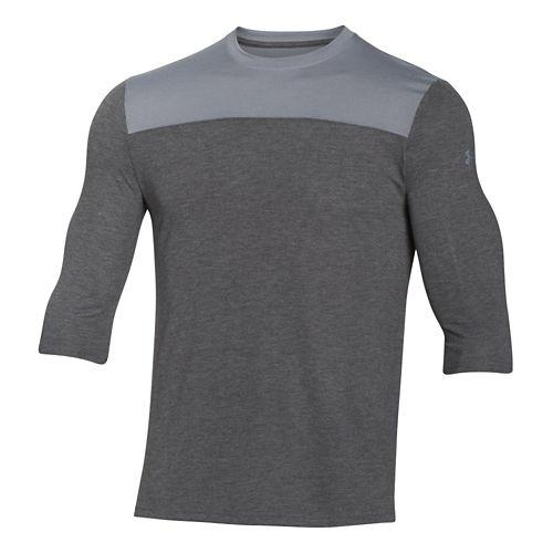 Mens Under Armour 3/4 Sleeve Football T Long Sleeve No Zip Technical Tops - Black ...