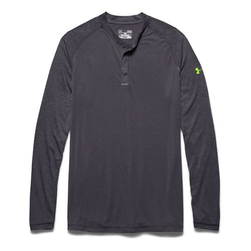 Mens Under Armour Selector Henley Shirt Long Sleeve Half Zip Technical Tops - Stealth Grey ...