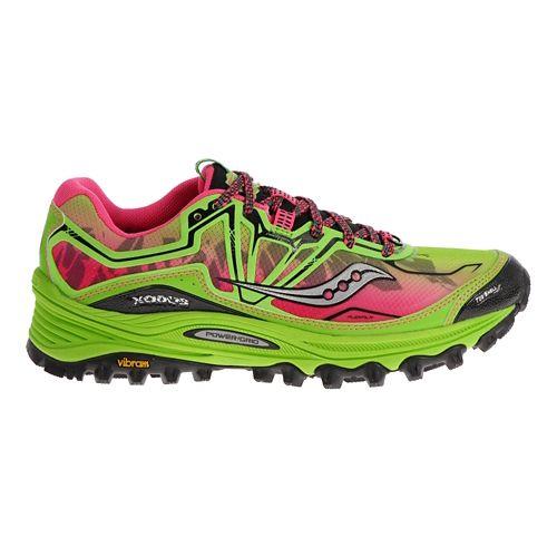 Womens Saucony Xodus 6.0 Trail Running Shoe - Green/Pink 5