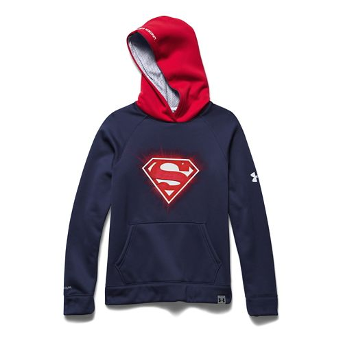 Kids Under Armour Alter Ego Superman Glow-In-The-Dark Storm Long Sleeve Hooded Technical Tops - ...