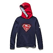 Kids Under Armour Alter Ego Superman Glow-In-The-Dark Storm Long Sleeve Hooded Technical Tops