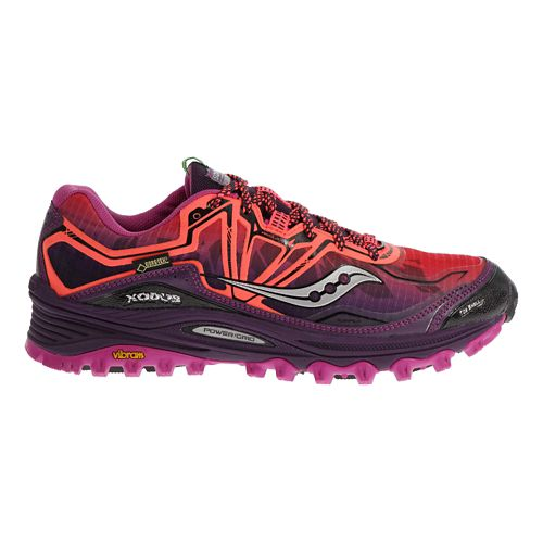 Womens Saucony Xodus 6.0 GTX Trail Running Shoe - Coral/Purple 10