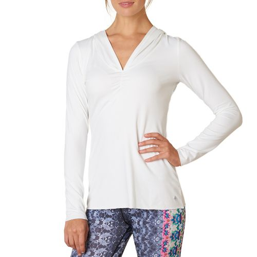 Womens Prana Perry Stripe Pullover Long Sleeve Technical Tops - White M