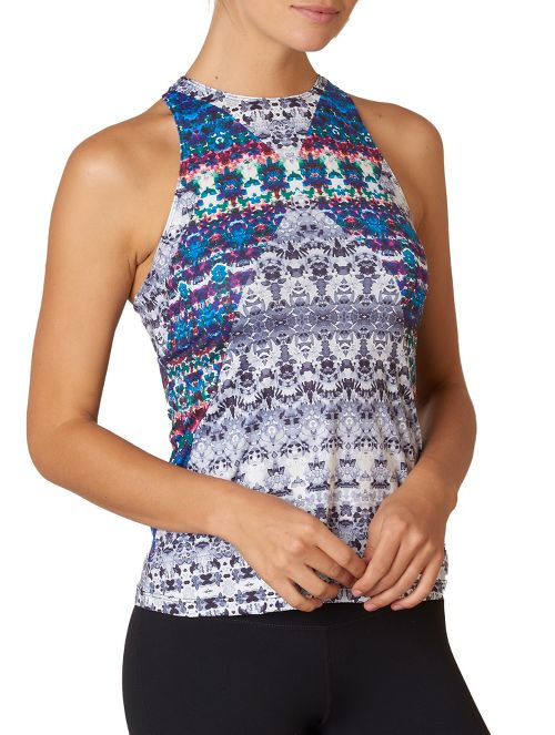 Womens Prana Boost Printed Top Sleeveless & Tank Technical Tops - Black Hydrobloom XL