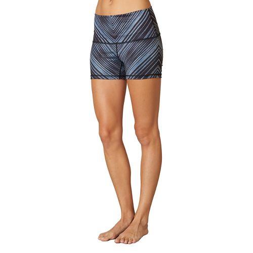 Womens Prana Luminate Compression & Fitted Shorts - Black Stripe M