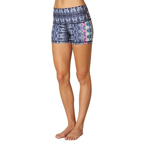Womens Prana Luminate Compression & Fitted Shorts - Black Hydrobloom XL