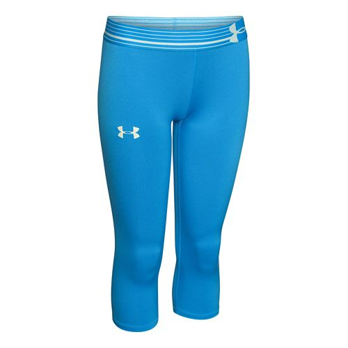 Mens Under Armour HeatGear Solid Capri Tights - Jazz Blue YXL