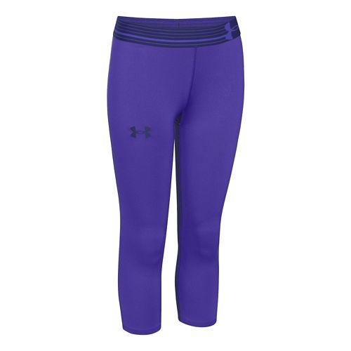 Mens Under Armour HeatGear Solid Capri Tights - Purple YM