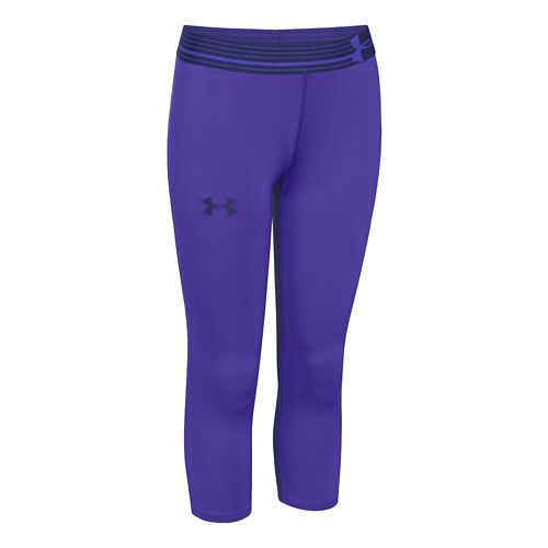 Mens Under Armour HeatGear Solid Capri Tights - Purple YXL