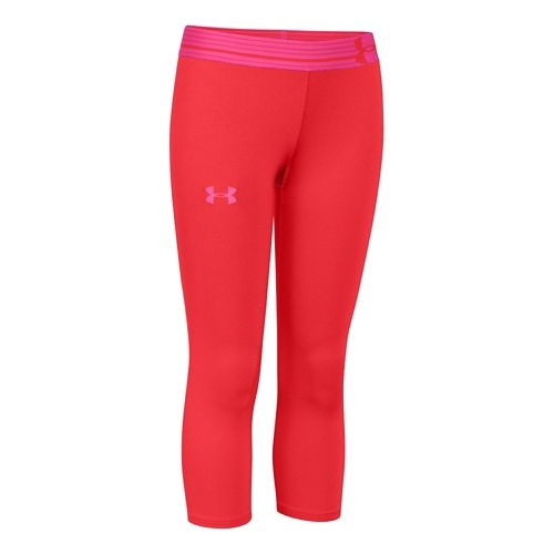 Mens Under Armour HeatGear Solid Capri Tights - Pomegranate YS