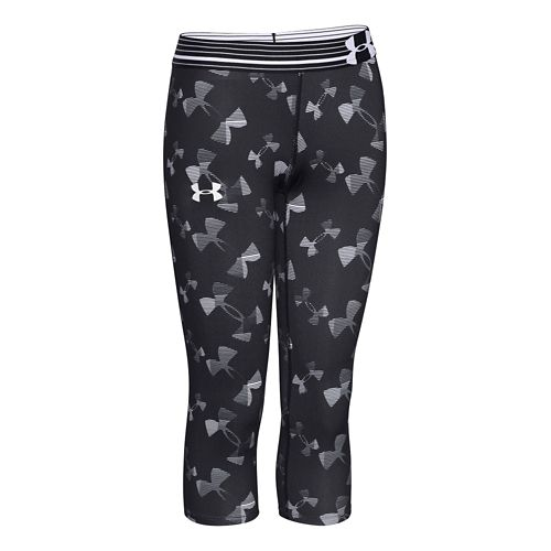 Kids Under Armour HeatGear Printed Capri Tights - Black YXL