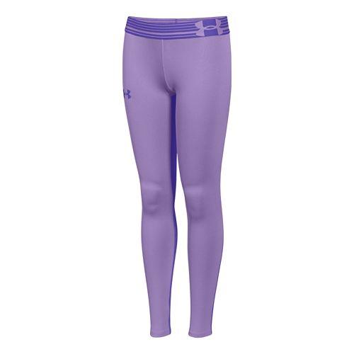 Kids Under Armour HeatGear Solid Legging Full Length Tights - Lilac YM