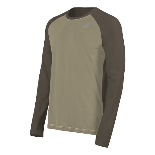 Mens ASICS ASX Dry Long Sleeve Technical Tops - Bark XL