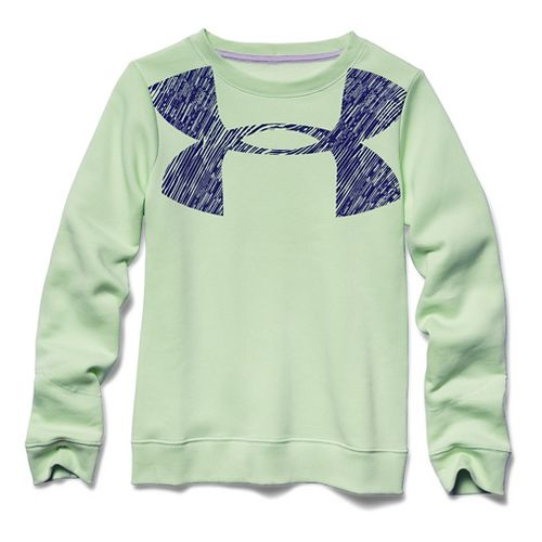 Under Armour Girls Charged Cotton Crew Long Sleeve No Zip Technical Tops - Minty YS ...