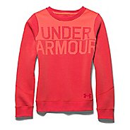 Kids Under Armour Charged Cotton Wordmark Crew Long Sleeve No Zip Technical Tops