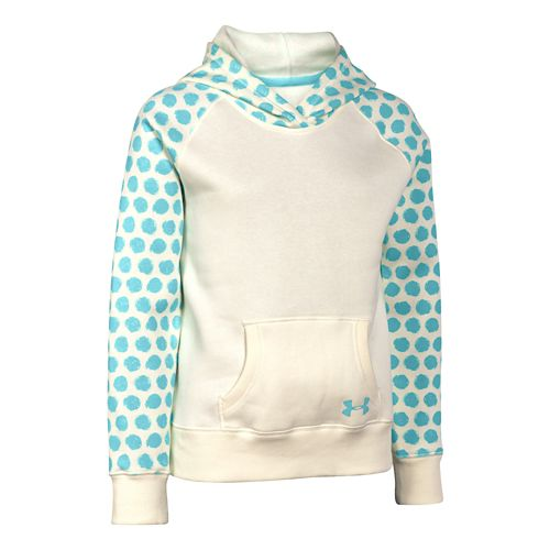 Kids Under Armour Charged Cotton Printed Hoody Outerwear Jackets - Tuft White YXS