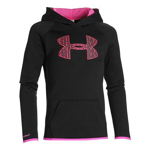 Kids Under Armour Fleece Big Logo Hoody Outerwear Jackets - Black YL