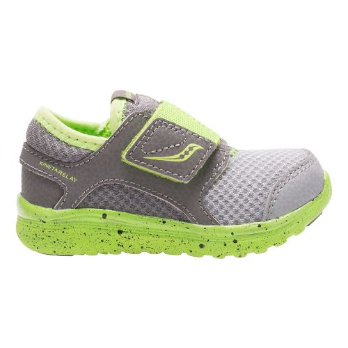 Kids Saucony Kineta Alternative Closure Running Shoe - Grey/Green 5.5C