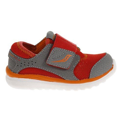 Kids Saucony Kineta Alternative Closure Running Shoe - Red/Grey 4.5C