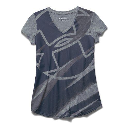 Kids Under Armour Imprint V-Neck Short Sleeve Technical Tops - True Grey Heather YXS