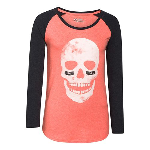 Kids Under Armour Glow Skull Longsleeve Raglan Long Sleeve No Zip Technical Tops - After ...