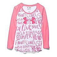 Kids Under Armour Power In Pink Longsleeve Raglan Long Sleeve No Zip Technical Tops