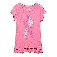 Kids Under Armour Power In Pink Ribbon Raglan Short Sleeve Technical Tops