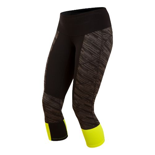 Womens Pearl Izumi Flash 3/4 Capris Tights - Black/Shadow Grey L