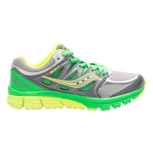 Kids Saucony Zealot Running Shoe - Grey/Green/Citron 12C