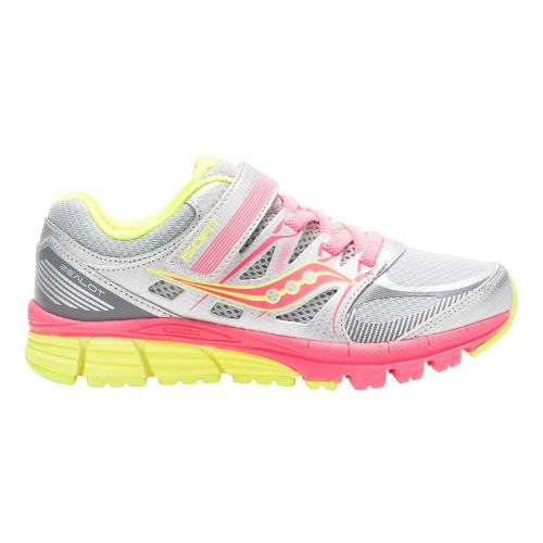 Kids Saucony Zealot Alternative Closure Running Shoe - Silver/Coral/Citron 2Y