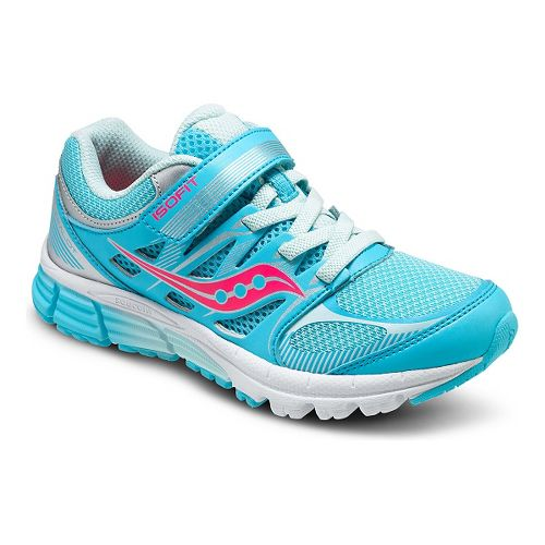 Kids Saucony Zealot Alternative Closure Running Shoe - Turquoise/Silver 1Y