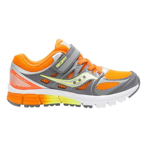 Kids Saucony Zealot Alternative Closure Running Shoe - Orange/Grey/Citron 3Y