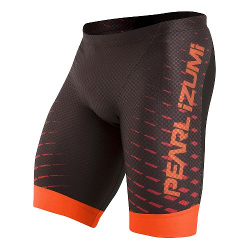 Mens Pearl Izumi PRO In-R-Cool Tri Unlined Shorts - Black/Red Orange L
