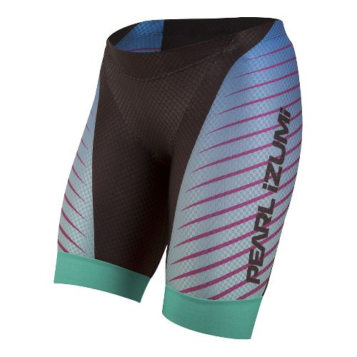 Womens Pearl Izumi PRO In-R-Cool Tri Unlined Shorts - Black/Aqua Fade XL