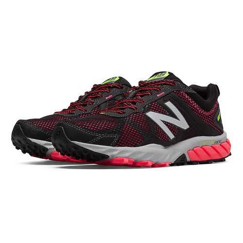Womens New Balance T610v5 Trail Running Shoe - Black/Pink Zing 10.5