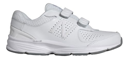 Womens New Balance 411v2 Walking Shoe - White/Velcro 7.5