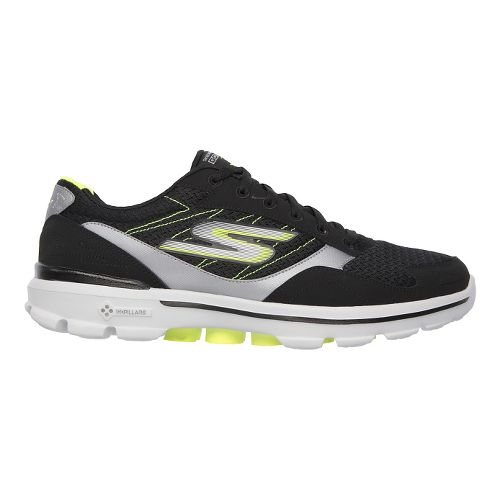Mens Skechers GO Walk 3 - Compete Walking Shoe - Black/Lime 13