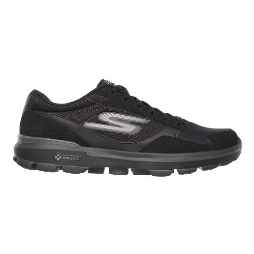 Mens Skechers GO Walk 3 - Compete LT Walking Shoe - Black/Black 7.5