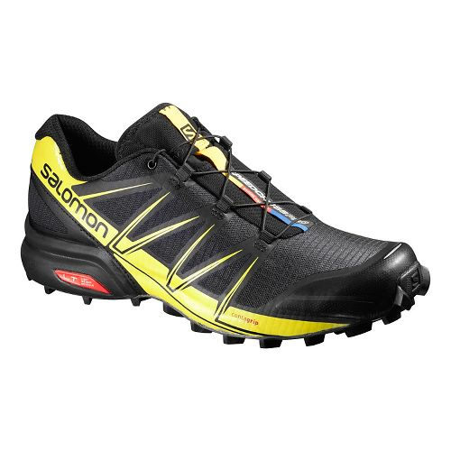 Mens Salomon Speedcross Pro Trail Running Shoe - Black/Corona Yellow 10.5