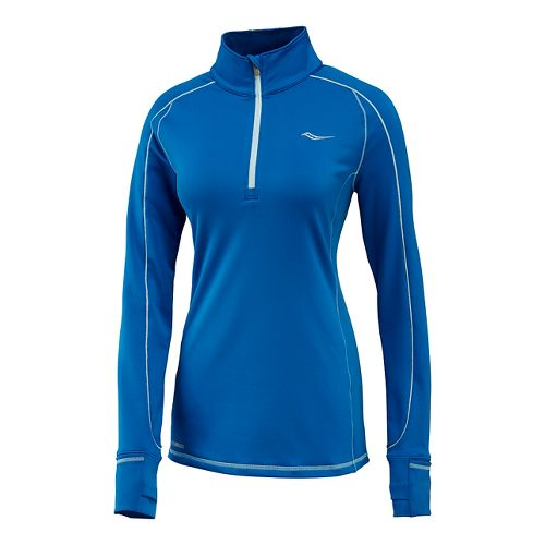 Womens Saucony Omni Sportop Long Sleeve Technical Tops - Marine/Blue XL