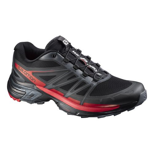 Mens Salomon Wings Pro 2 Trail Running Shoe - Black/Red 10.5
